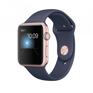 Apple Watch Series 1 42mm Rose Gold Case with Midnight Blue Sport Band
