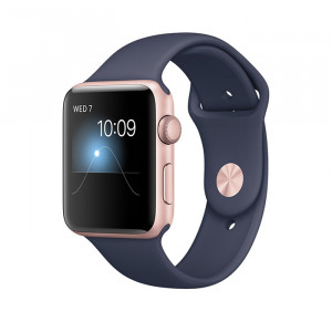 Apple Watch Series 2 42mm Rose Gold Case with Midnight Blue Sport Band