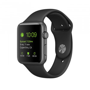 Apple Watch Series 1 42mm Gray Case with Black Sport Band