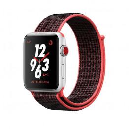 ساعت هوشمند نایک پلاس سری 3 سایز 38 میلیمتر نقره ای اپل با بند مشکی لوپ