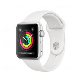 ساعت هوشمند سری 3 سایز 42 میلیمتر نقرهای اپل با بند سفید
