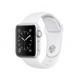 ساعت هوشمند سری 2 سایز 38 میلیمتر رنگ نقرهای اپل با بند اسپرت سفید