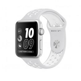 ساعت هوشمند نایک پلاس سری 2 سایز 42 میلیمتر نقره ای اپل با بند سفید