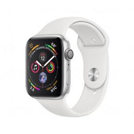 ساعت هوشمند سری 4 سایز 44 میلیمتر نقرهای اپل با بند سفید
