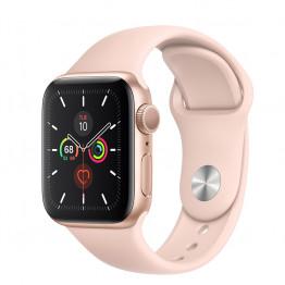 ساعت هوشمند سری 5 سایز 44 طلائی اپل با بند صورتی