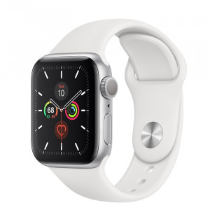 ساعت هوشمند اپل واچ سری 5 سایز 40 رنگ طوسی با بند سفید