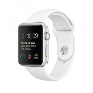 ساعت هوشمند اپل واچ سری 1 سایز 42 میلیمتر رنگ نقرهای با بند اسپرت سفید