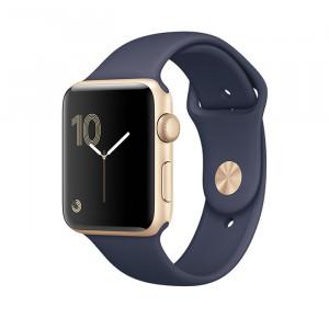 ساعت هوشمند اپل واچ سری 2 سایز 42 میلیمتر رنگ طلائی با بند اسپرت سرمهای