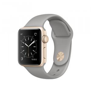 ساعت هوشمند اپل واچ سری 2 سایز 38 میلی متر رنگ طلائی با بند طوسی