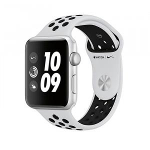 ساعت هوشمند اپل واچ نایک پلاس سری 3 سایز 42 میلیمتر رنگ نقرهای با بند طوسی