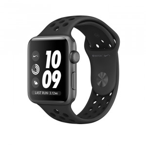 ساعت هوشمند اپل واچ نایک پلاس سری 3 سایز 42 میلیمتر رنگ خاکستری با بند مشکی