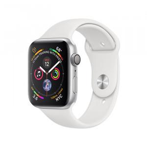 ساعت هوشمند اپل واچ سری ۴ سایز ۴۴ میلیمتر رنگ نقرهای با بند سفید