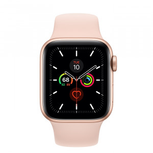 ساعت اپل واچ سری 5 سایز 40 رنگ طلایی با بند صورتی