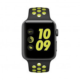 ساعت هوشمند نایک پلاس سری 2 سایز 42 میلیمتر خاکستری اپل با بند مشکی