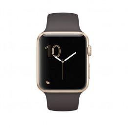 ساعت هوشمند سری 2 سایز 42 میلیمتر طلائی اپل با بند قهوهای