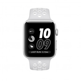 ساعت هوشمند اپل واچ نایک پلاس سری 2 سایز 38 میلیمتر رنگ نقرهای با بند سفید