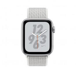 ساعت هوشمند اپل واچ نایک پلاس سری 4 سایز 40 میلیمتر رنگ نقرهای با بند سفید لوپ