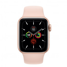 ساعت هوشمند سری 5 سایز 40 طلائی اپل با بند صورتی