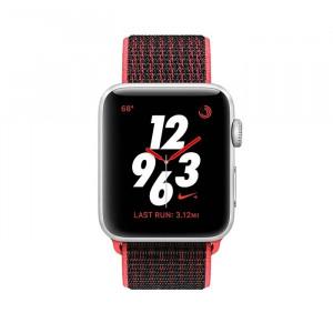 ساعت هوشمند اپل واچ نایک پلاس سری 3 سایز 42 میلیمتر رنگ نقرهای با بند مشکی لوپ