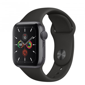 ساعت هوشمند اپل واچ سری 5 سایز 40 با رنگ خاکستری با بند مشکی