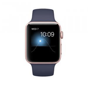 ساعت هوشمند اپل واچ سری 2 سایز 42 میلی متر رنگ رزگلد با بند اسپرت سرمهای