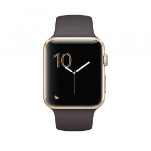 ساعت هوشمند اپل واچ سری 2 سایز 42 میلیمتر طلائی با بند قهوهای