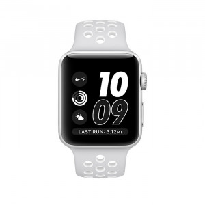 ساعت هوشمند اپل واچ نایک پلاس سری 2 سایز 42 میلیمتر رنگ نقره ای با بند سفید