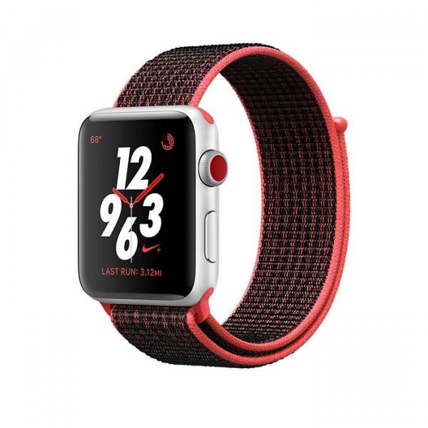 ساعت هوشمند نایک پلاس سری 3 سایز 42 میلیمتر نقرهای اپل با بند مشکی لوپ