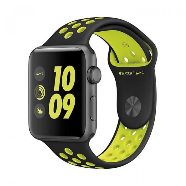 ساعت هوشمند اپل واچ سری 2 سایز 42 میلیمتر نایک پلاس خاکستری با بند مشکی
