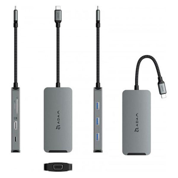 هاب 8 پورت USB-C مدل A08 آدام المنتس