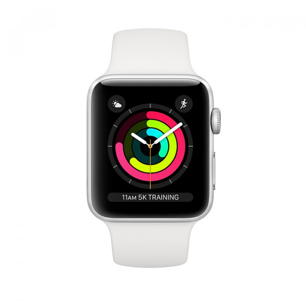 ساعت هوشمند اپل واچ سری 3 رنگ نقرهای با بند سفید سایز 42 میلیمتر