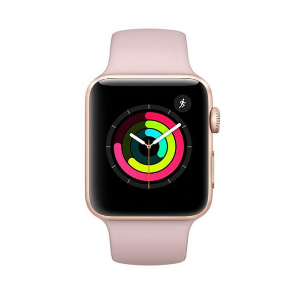 ساعت هوشمند سری 3 سایز 38 میلی متر طوسی اپل با بند مشکی