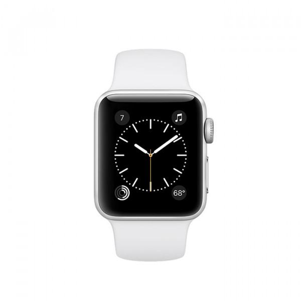 ساعت هوشمند اپل واچ سری 2 سایز 38 میلیمتر رنگ نقرهای با بند اسپرت سفید