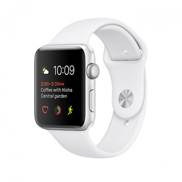 ساعت هوشمند اپل واچ سری 2 سایز 42 میلیمتر رنگ نقرهای با بند اسپرت سفید