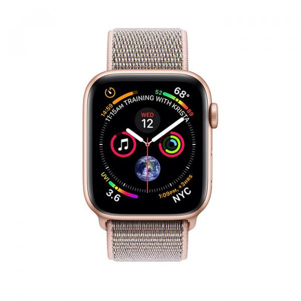 ساعت هوشمند سری 4 سایز 44 میلیمتر طلائی اپل با بند صورتی لوپ