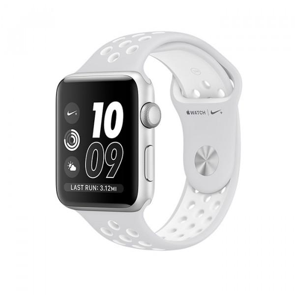 ساعت هوشمند نایک پلاس سری 2 سایز 38 میلیمتر نقرهای اپل با بند سفید