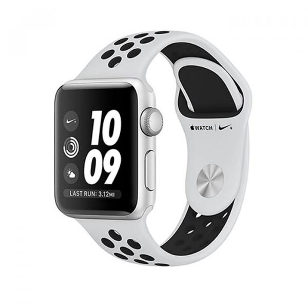 ساعت هوشمند نایک پلاس سری 3 سایز 38 میلیمتر نقرهای اپل با بند طوسی