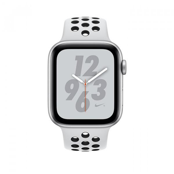 ساعت هوشمند اپل واچ نایک پلاس سری 4 سایز 44 میلیمتر رنگ نقرهای با بند طوسی