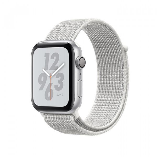 ساعت هوشمند اپل واچ نایک پلاس سری 4 سایز 44 میلیمتر رنگ نقرهای با بند سفید
