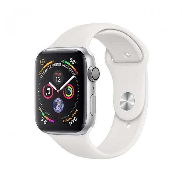 ساعت هوشمند سری 4 سایز 40 میلیمتر نقرهای اپل با بند سفید