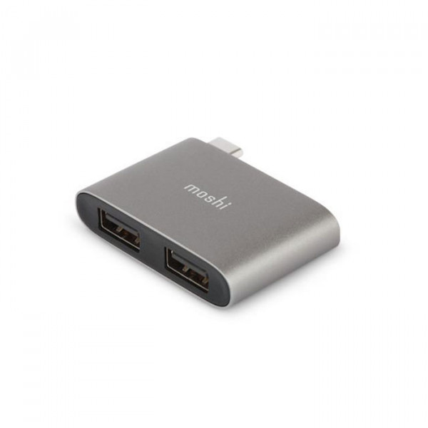 Moshi USB-C to Dual USB-A Adapter Titanium Gray