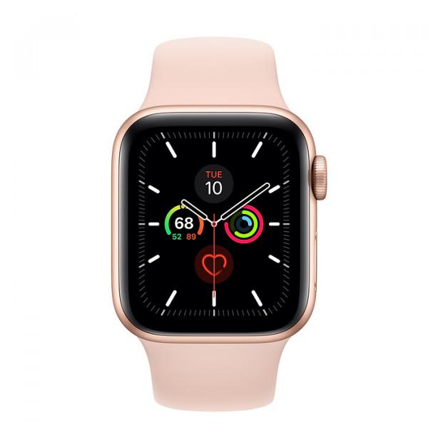 ساعت هوشمند اپل واچ سری ۵ سایز ۴۴ رنگ طلایی با بند صورتی